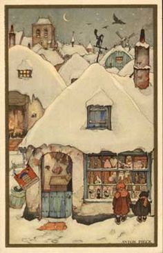 Anton Pieck--winkeltje in sneeuw