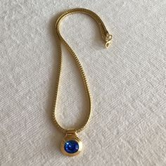 Golden necklace Golden necklace with blue crystal Jewelry Necklaces