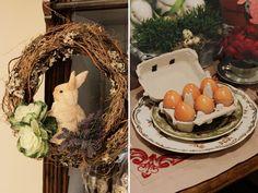 Páscoa - decoração de almoço country chic - guirlanda com coelho e caixinha de ovos ( Arranjos: Lucia Milan )