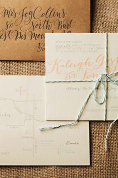 MODERN & WHIMSICAL Wedding Invites | Ivory, Teal, Blush, Ribbon Invite l www.meldeen.com