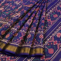 Handwoven Patola Ikat Mulberry Silk Saree With Tissue Border, Peacock & Elephant Motifs Chikankari Suits, Tussar Silk Saree, Couture Sewing Techniques, Woman Clothing, Designer Clothing, Designer Dresses, Indian Dresses, Indian Outfits, Elegant Saree