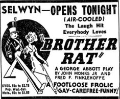 83 best selwyn theatre 180 north dearborn street chicago illinois This Land Is Mine 1943 Movie promotional ad for the 1937 premiere chicago production of the ge e abbott play brother rat at the selwyn theatre
