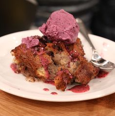 Blueberry Bread Pudding with Blueberry Glace
