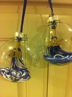 LOVE this idea!! turn your graduation tassels into ornaments! you can buy glass balls at most craft stores, including Michaels! #myveganjournal