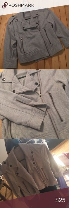 Gray, 3/4 sleeve jacket. Size small Really cute gray jacket! From Cache. Worn once or twice, in perfect condition. I cut the tag out because it was so itchy, but there is a tag on the inside that confirms size small. Zippers on the sleeves and zippered pockets! Cache Jackets & Coats