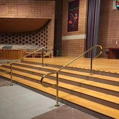 Gallery Metalworks Free-standing handrail in church.Ideal for any architectural application– stairca Indoor Stair Railing, Deck Railings, Railing Ideas, Assisted Living, Home Renovation, Metal Working, Custom Design, Stairs, Brass