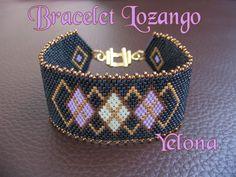 Bracelet Lozango bleu by Yelona Peyote Beading Patterns, Peyote Stitch Patterns, Loom Beading, Handmade Bracelets, Handmade Jewelry, Bead Loom Designs, Seed Bead Projects, Seed Beads, Loom Bracelets