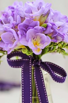 A Bunch for the Weekend-# 43-Freesia with Dark Purple Bow-Ingrid Henningsson-Of Spring and Summer