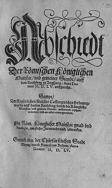De godsdienstvrede van Augsburg was een vredesovereenkomst die in 1555 na veertig jaar van religieuze twisten in het Heilige Roomse Rijk, met als hoogtepunt de Schmalkaldische Oorlog (1546-1552), getekend werd op de Rijksdag van 25 september 1555 een compromis bereikt tussen Ferdinand I, die zijn broer keizer Karel V verving, en de katholieke Rijksgroten aan de ene kant, en het Schmalkaldisch Verbond aan de andere kant, dat de protestantse rijkvorsten groepeerde.
