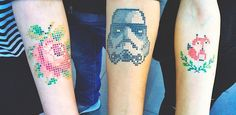 Adorable Cross-Stitch Tattoos by Turkish Artist Eva Krbdk » Design You Trust. Design, Culture & Society.