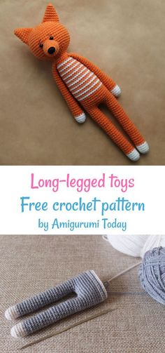 Crochet Long-legged animals free crochet pattern by Amigurumi Today Crochet Fox Pattern Free, Plush Pattern, Free Crochet, Crochet Patterns, Amigurumi Toys, Amigurumi Patterns, Crochet Hedgehog, Sewing Projects, Crochet Animals