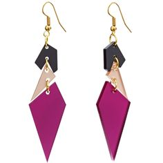 Toolally statement earrings - abstract diamonds plum