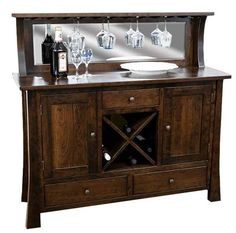 Amish Grant Wine Server An Amish made home bar built with solid wood. You can customize it in the wood and stain you choose. #homebar #winecabinet
