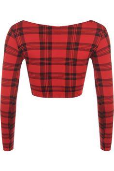 Dixie Red Tartan Print Crop Top