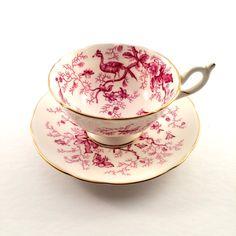 Pink Coalport Cairo teacup  / Cairo Pinks Birds Bugs and Butterflies by EllasAtticVintage on Etsy