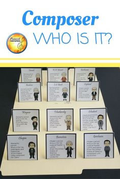 A great game for reviewing facts about 12 composers! Players use the included facts to determine the mystery composer.