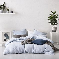 Home Republic - Vintage Washed Chambray- Bedroom Quilt Covers & Coverlets - Adairs online