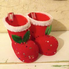 Flocked Santa Boot Set~  Retro Christmas Decoration, 1950s Japan Christmas…
