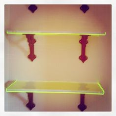 "I created these super cool shelves out of acrylic (Lucite, whatever you prefer- it's plastic!) where I have a 3/4"" thick clear acrylic wrapped on (3) edges with 1/8"" neon acrylic!   They Glow even with very little light on them.  The result is a million times better than I expected!  So jazzed about this product I made."