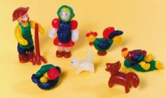 Little farm people and animals made with Modelling Beeswax from Stockmar.