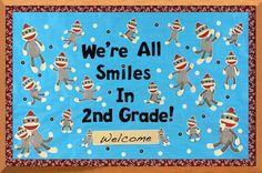 Sock Monkey Bulletin Board - vintage and sweet! #bulletinboard #classroom