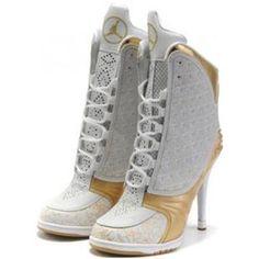 http://www.asneakers4u.com/ Nike Air Jordan 23 High Heels Golden White