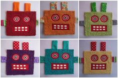 6 Colorful Robot Patches by jodieflowers on Etsy