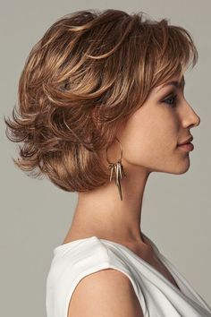 Everyday Elegant by Eva Gabor Wigs – Monofilament, Lace Front Wig – wavy hair Short Hair With Layers, Short Hair Cuts For Women, Medium Hair Cuts, Layered Hair, Medium Hair Styles, Curly Hair Styles, Short Textured Hair, Layered Bob Haircuts, Short Wavy Hair