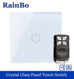 rainbo Crystal Glass Panel Switch EU Wall Switch 110~250V Remote Touch Switch Screen Wall Light Switch 1gang2way  A1914W/BR01 #Affiliate