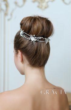 KLEOPATRA Crystal Fower Bridal Halo for Wedding Headband by TopGracia #topgraciawedding #bridaheadpiece #hairvine
