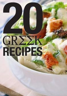 20 Yummy Greek recipes- for a Hercules themed dinner Mediterranean Diet Recipes, Mediterranean Dishes, Greek Cooking, Cooking Light, Greek Dishes, Cooking Recipes, Healthy Recipes, International Recipes, The Fresh