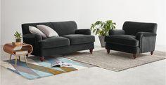 Orson 2 Seat Sofa, Midnight Grey Velvet | MADE.com