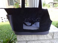 Large Black and Gray Corduroy Dog Carrier by PoochandFelinePalace