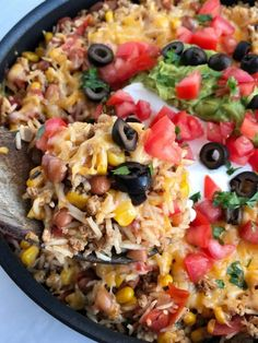 Turkey taco rice skillet is loaded with ground turkey, beans, corn, and tomatoes. Add in some rice and let it all simmer in a beef broth blend. Top with melted cheese and all your favorite taco toppings for the best and Ground Turkey Dinners, Ground Turkey Tacos, Soup With Ground Turkey, Ground Beef, Crockpot Ground Turkey, Best Ground Turkey Recipes, Mexican Food Recipes, Beef Recipes, Chicken Recipes