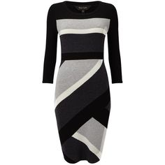 Phase Eight Dona Diagonal Block Dress, Black/Grey ($99) ❤ liked on Polyvore featuring dresses, color block maxi dresses, grey long sleeve dress, mini dress, long-sleeve midi dresses and long sleeve dress