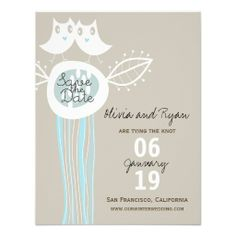 Whimsical Blue Owls Love Save The Date Announcemen Invitations