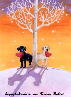 Winter Labradors painted by Naomi Ochiai from Japan. :)