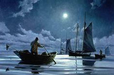 """Donald Demers    """"Night Watch"""" ~ my father worked as a night watchman on a dredging barge for awhile, years ago (1960s)  He told me it was an amazing experience, being out there on the Gulf of Mexico all alone at night..."""