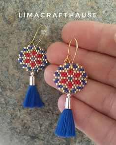 miyuki Delica We liked it very much - how about you? 👉 For information and ordering please contact Dm 💌 # handmade a. Brick Stitch Earrings, Seed Bead Earrings, Beaded Earrings, Diy Jewelry, Beaded Jewelry, Jewelery, Peyote Patterns, Beading Patterns, Peyote Beading