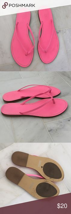 J. crew neon pink leather flip flops basic Only worn once for 1/2 HR practically new!!!  Gorgeous hot pink color J. Crew Shoes Sandals