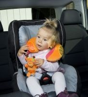 Babymoov Neck Pillow Giraffe  -Supports your baby's head when travelling. The neck pillow is a safe and practical way to support your baby's head while in the car.   It has extra features:  - A hanging giraffe that rattles to keep baby amused during the trip.  - Breathable anti-sweat fabric around the neckline  - Super soft fabric to comfort baby. Baby Head, Neck Pillow, Soft Fabrics, Baby Car Seats, Giraffe, Pillows, Baby Products, Children, Travelling