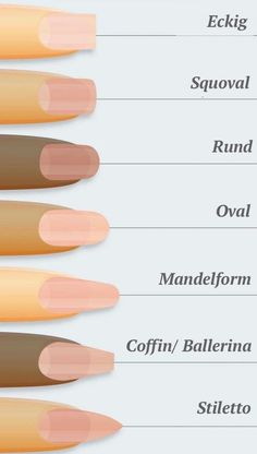 Nägel formen – 7 verschiedene Nagelformen auf einen Blick – Nagellack-Kunst, You can collect images you discovered organize them, add your own ideas to your collections and share with other people. Acrylic Nail Shapes, Cute Acrylic Nails, Glue On Nails, Diy Nails, Polygel Nails, Different Nail Shapes, Nail Forms, Manicure E Pedicure, Manicure Ideas