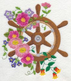 Ship's Wheel Blooms design (L1619) from www.Emblibrary.com