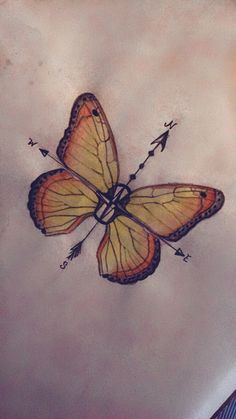 "Tattoo design butterfly compass  ""Go in the direction of your dreams"" ""If nothing ever changed there would be no butterflies"""