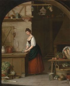 A Girl Bundling Asparagus, 1771, John Atkinson, Yale Center for British Art. This painting is chock full of interesting kitchen artifacts! Click to enlarge and look around. :)