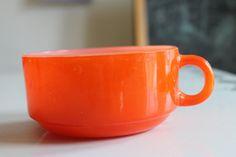 Vintage Glasbake Orange and White Milk Glass by shanieandsallie
