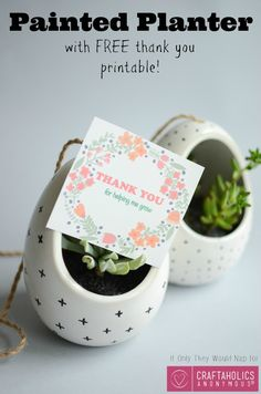 DIY Hanging Painted Planter + Free teacher appreciation printable || Great gift idea!