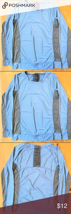 NYL Sports Pullover Excellent condition size large gray and blue nice detailing on back of top very soft 26 1/2 in long 19 1/2 chest 281/2 in sleeve measured from the collar down very comfortable 88% Polyester 12% Spandex NYL Tops