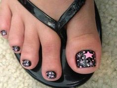 Nail Art Ideas For Your Toes Pink star and polka dot toe nail design. Pink and black with a little sparkle. Love this toe nail design.Pink star and polka dot toe nail design. Pink and black with a little sparkle. Love this toe nail design. Pretty Toe Nails, Cute Toe Nails, Cute Toes, Pretty Toes, Pink Toe Nails, Toenail Art Designs, Pink Nail Designs, Toe Nail Designs, Flower Pedicure Designs