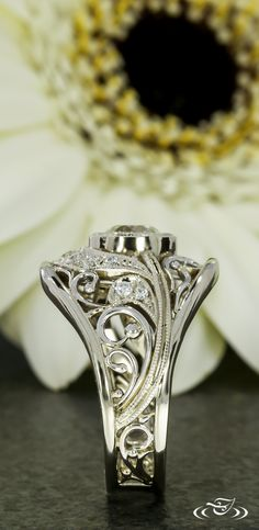 The fine filigree details of this engagement ring are accented by white gold beads. Wedding Sets, Wedding Rings, Wedding Stuff, Bridal Jewelry, Unique Jewelry, Jewelry Ideas, Green Lake Jewelry, Gold Beads, Stone Jewelry